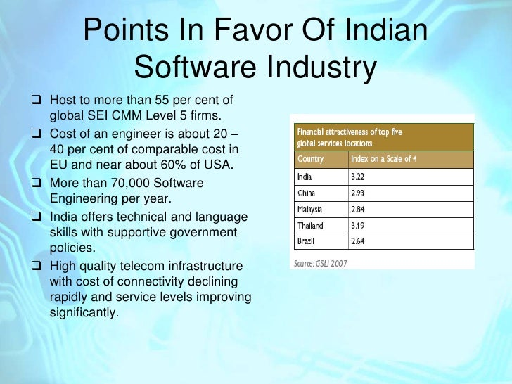 the indian software industry Venture capital has been the main source of finance for software industry  in today's information  the indian information technology industry.