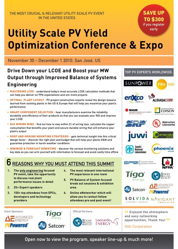 THE MOST CRUCIAL & RELEVANT UTILITy SCALE PV EVENT                                                       save up          ...