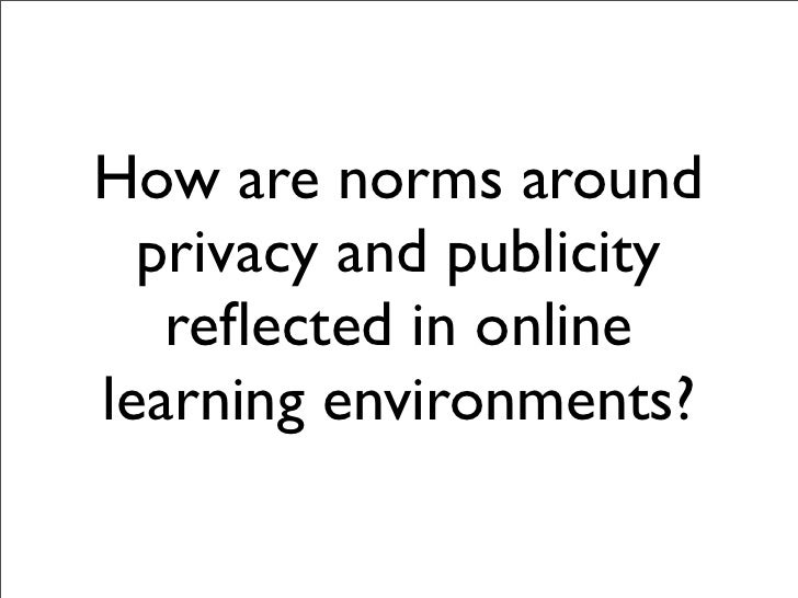 How are norms around  privacy and publicity   reflected in onlinelearning environments?