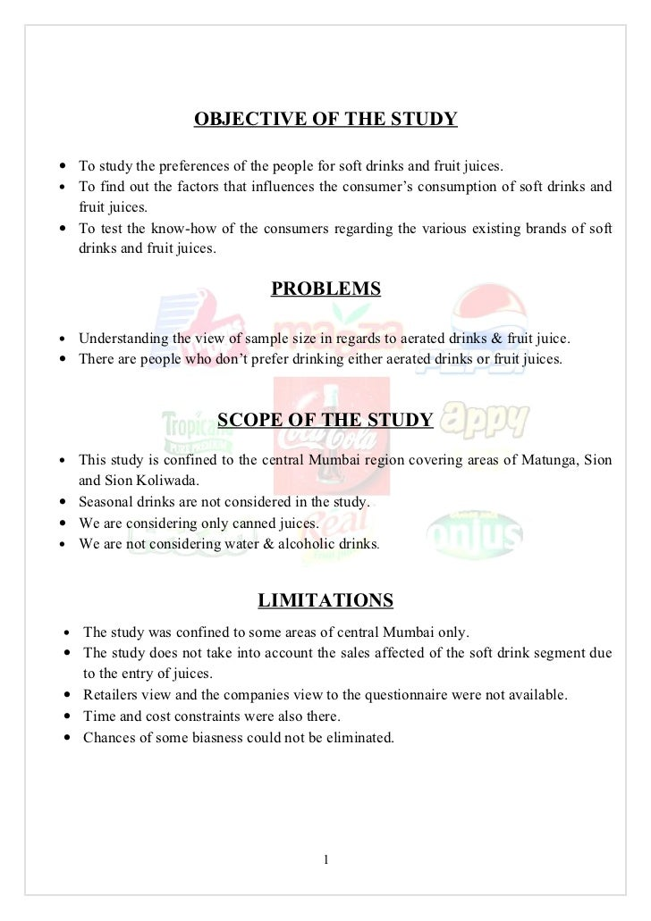 Comparative Study on Consumption Patterns of Soft Drinks and Fruit Juices Essay