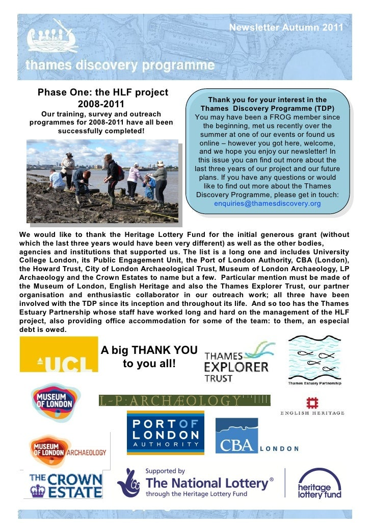 Newsletter Autumn 2011     Phase One: the HLF project                                                     Thank you for yo...