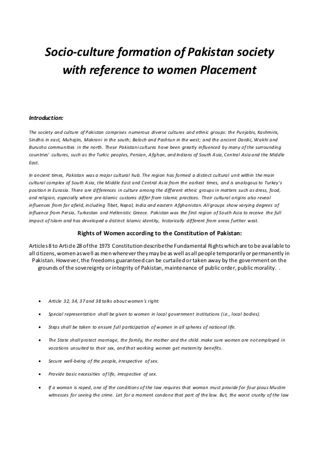 Socio-culture formation of Pakistan society with reference to women Placement Introduction: The society and culture of Pak...