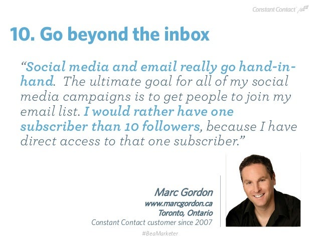 """""""Social media and email really go hand-in- hand. The ultimate goal for all of my social media campaigns is to get people t..."""