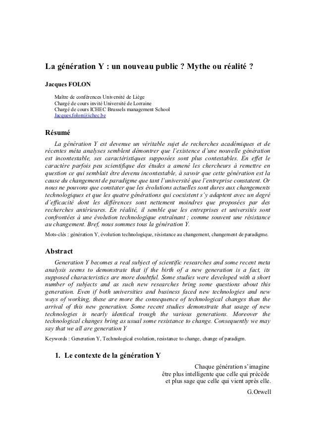 La génération Y : un nouveau public ? Mythe ou réalité ?Jacques FOLON    Maître de conférences Université de Liège    Char...