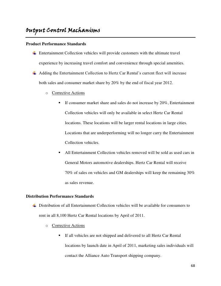 Hertz Marketing Plan – Sample Car Rental Agreement