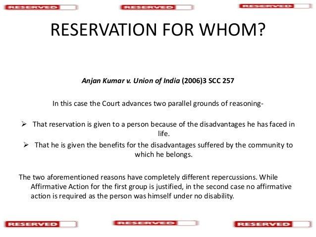 reservation in india debate