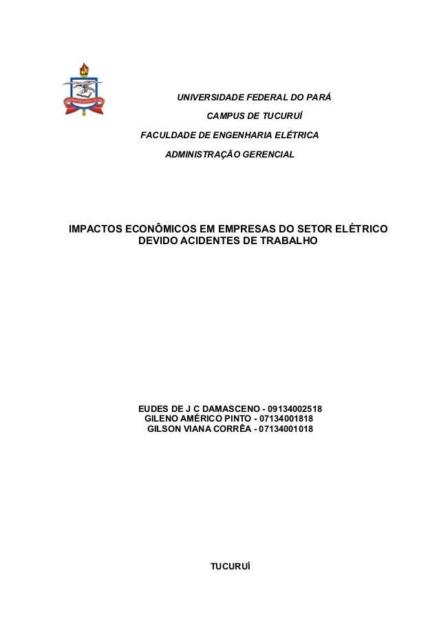UNIVERSIDADE FEDERAL DO PARÁ                       CAMPUS DE TUCURUÍ           FACULDADE DE ENGENHARIA ELÉTRICA           ...