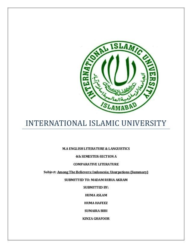 INTERNATIONAL ISLAMIC UNIVERSITYM.A ENGLISH LITERATURE & LANGUISTICS4th SEMESTER-SECTION ACOMPARATIVE LITERATURESubject: A...