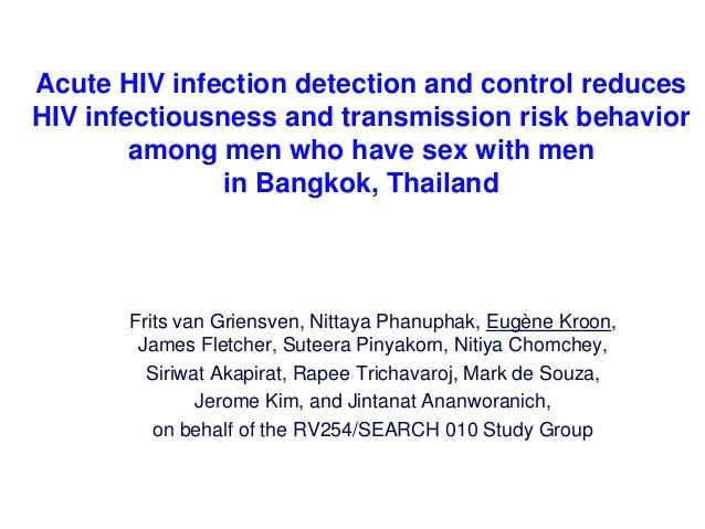Acute HIV infection detection and control reduces HIV infectiousness and transmission risk behavior among men who have sex...