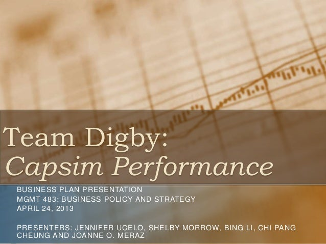 Team Digby: Capsim Performance BUSINESS PLAN PRESENTATION MGMT 483: BUSINESS POLICY AND STRATEGY APRIL 24, 2013 PRESENTERS...