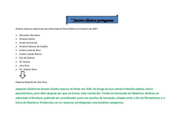 """"""" Autores clássicos portugueses Autores clássicos disponíveis para download da Porto Editora em Fevereiro de 2007:   Alex..."""