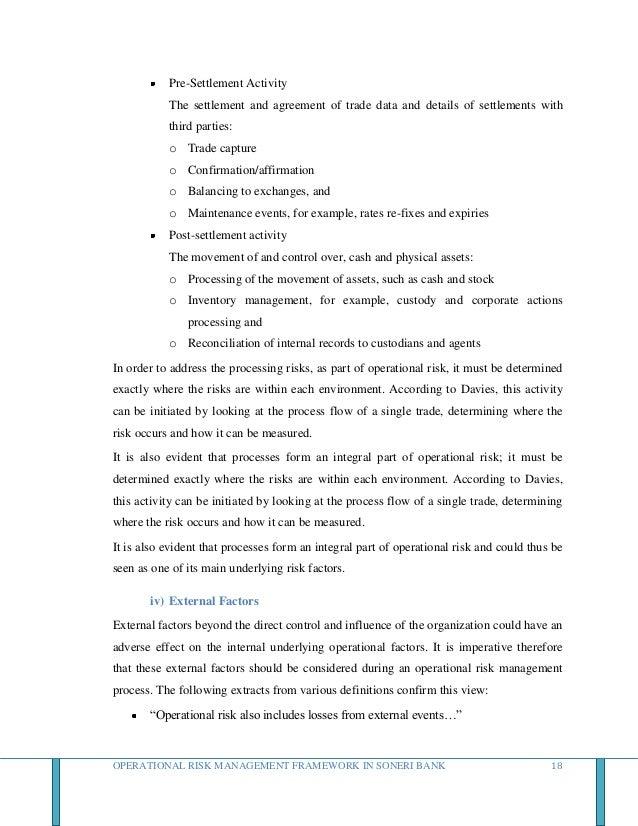 Operational Risk Management Framework In Soneri Bank