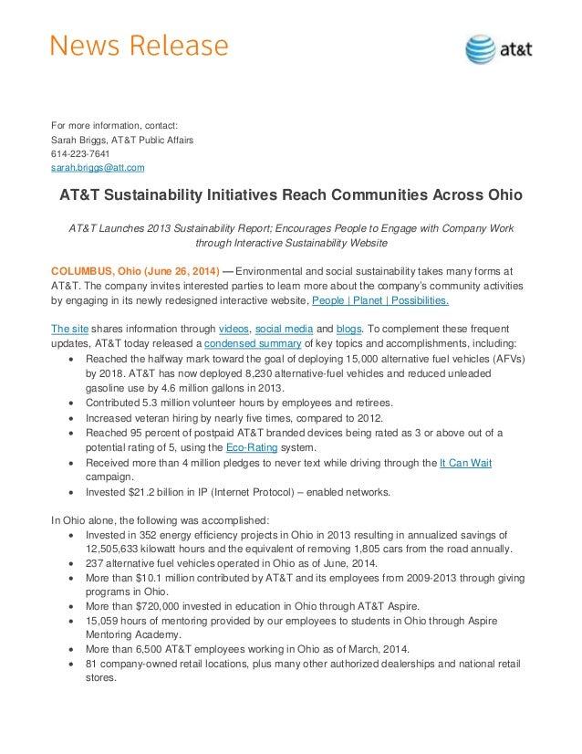 For more information, contact: Sarah Briggs, AT&T Public Affairs 614-223-7641 sarah.briggs@att.com AT&T Sustainability Ini...