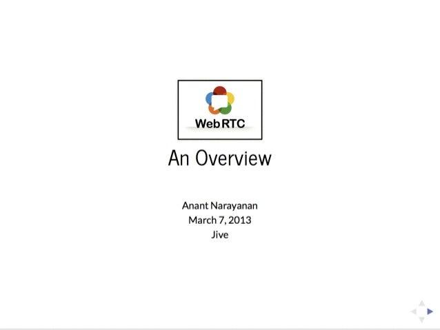 WebRTC: An Overview
