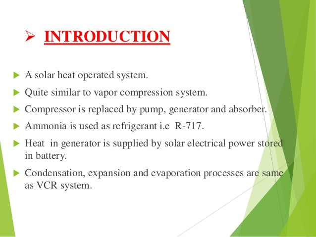 Solar Power Vapour Absorption Refrigeration System