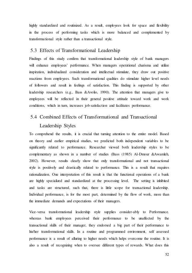 Essay on transformational leadership style