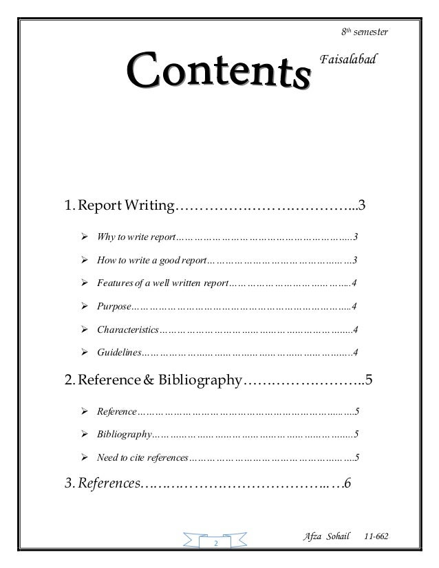 report writing & reference & bibliography