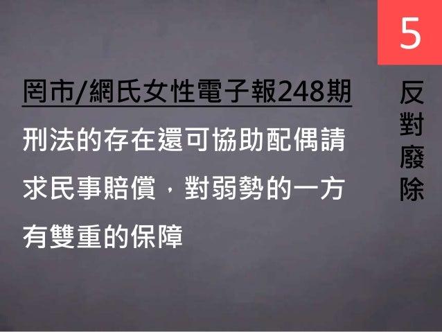 5 反 對 廢 除 罔市/網氏女性電子報248期 刑法的存在還可協助配偶請 求民事賠償,對弱勢的一方 有雙重的保障