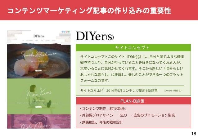 18 サイトコンセプト サイトコンセプトこのサイト『DIYer(s)』は、自分と同じような価値 観を持つ人や、自分がやっていることを好きになってくれる人が、 大勢いることに気付かせてくれます。そこから新しい「自分らしい おしゃれな暮らし」に挑戦...