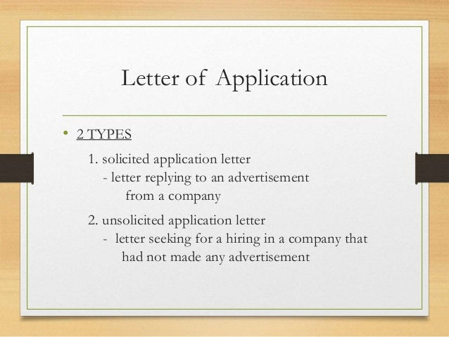 a solicited letter of application Solicited application letter topics: manila, metro manila, quezon city pages: 6 (1137 words) published: september 21, 2013 i learned how to apply those programs to speed up letter and report-writing tasks a workshop on writing and editing with the unix processor gave me experience.