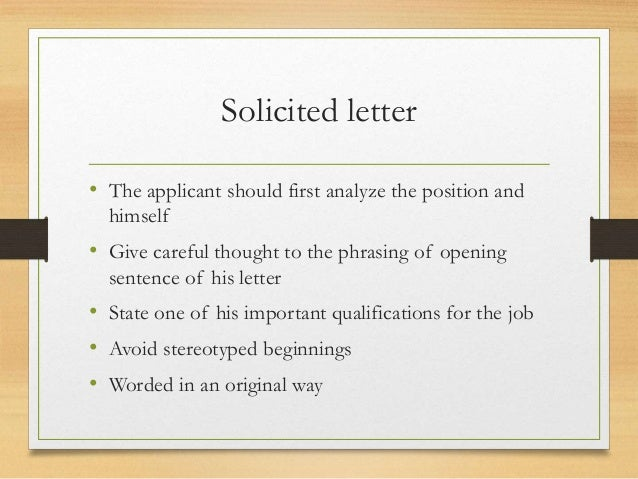 solicited cover letter vs unsolicited Solicited vs unsolicited proposals solicited and unsolicited proposals are oftentimes called business proposals and are both considered as an important part of any sales process proposals as usually tossed around the business universe and most buyers and sellers have come across a proposal or two.
