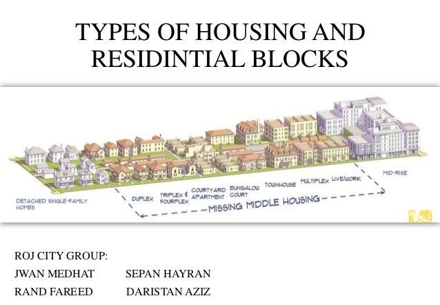 TYPES OF HOUSING AND RESIDINTIAL BLOCKS ROJ CITY GROUP: JWAN MEDHAT SEPAN HAYRAN RAND FAREED DARISTAN AZIZ