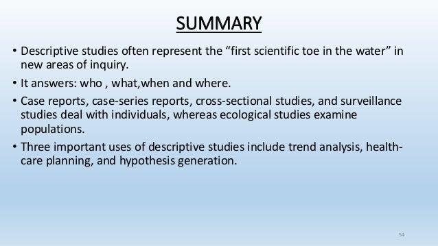 descriptive epidemiology case study