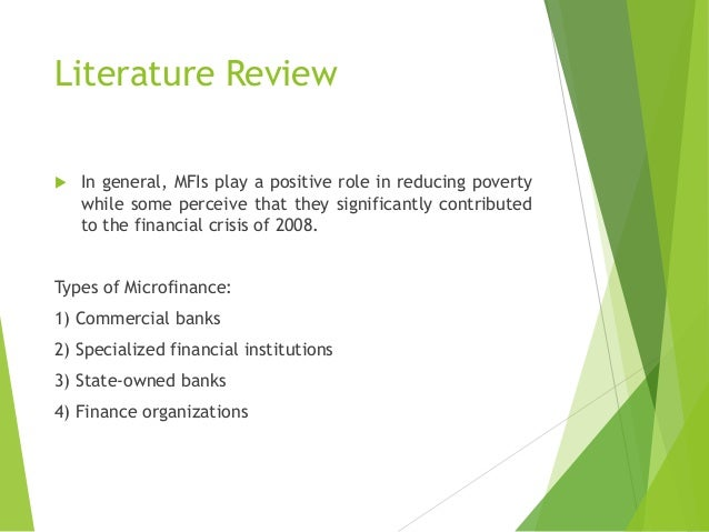 Literature review on microfinance bank