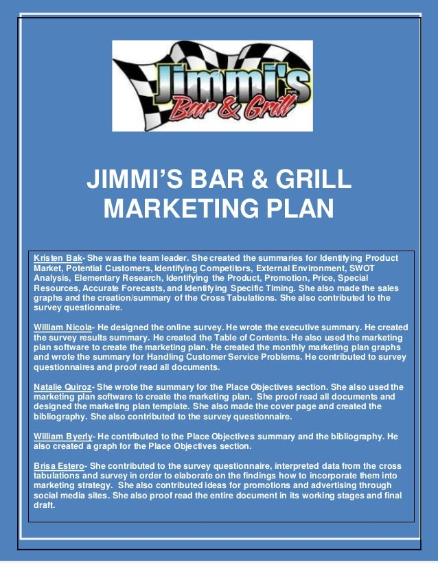 Marketing plan for sports bar and grill sports bar business plan accmission Choice Image