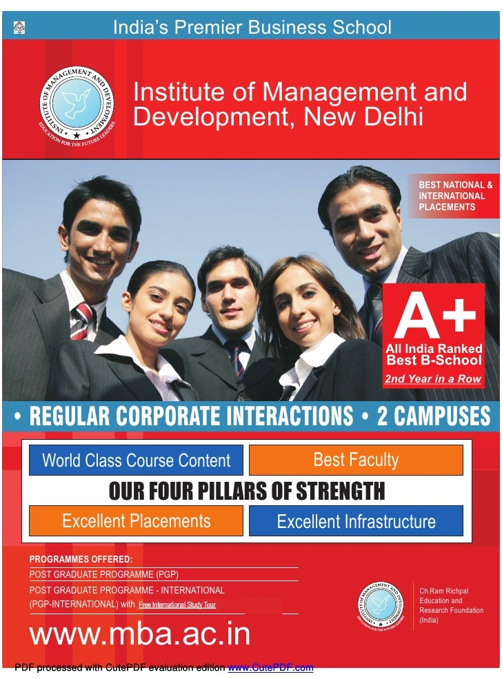 India's Premier Business School                             Institute of Management and                             Develo...