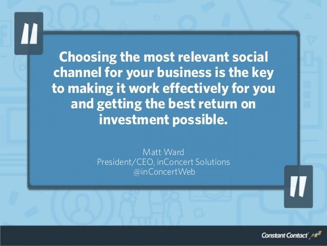 Choosing the most relevant social channel for your business is the key to making it work effectively for you and getting t...