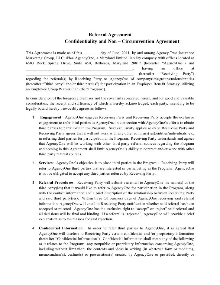 Final Agency One E Referral Agreement 2