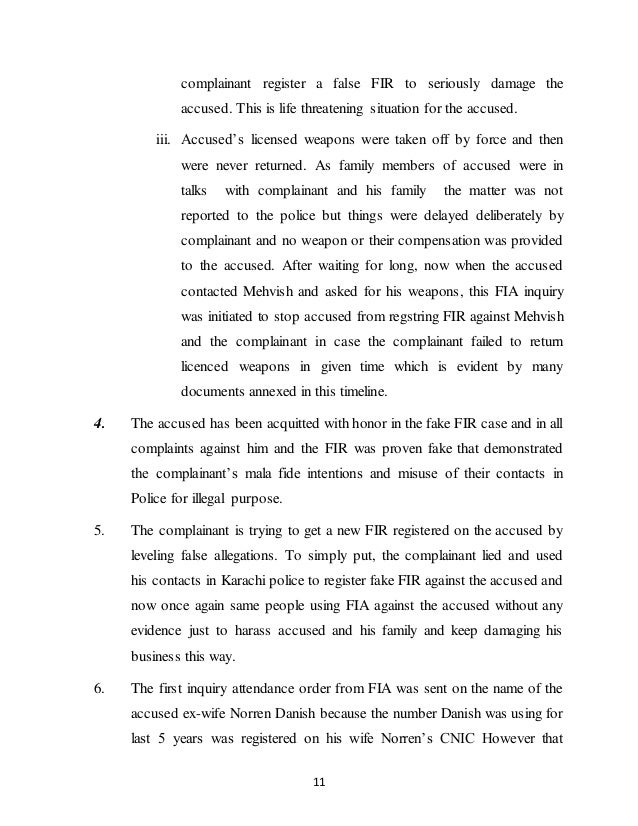 Written Statement in FIA cyber crime inquiry case exposing a trend of…