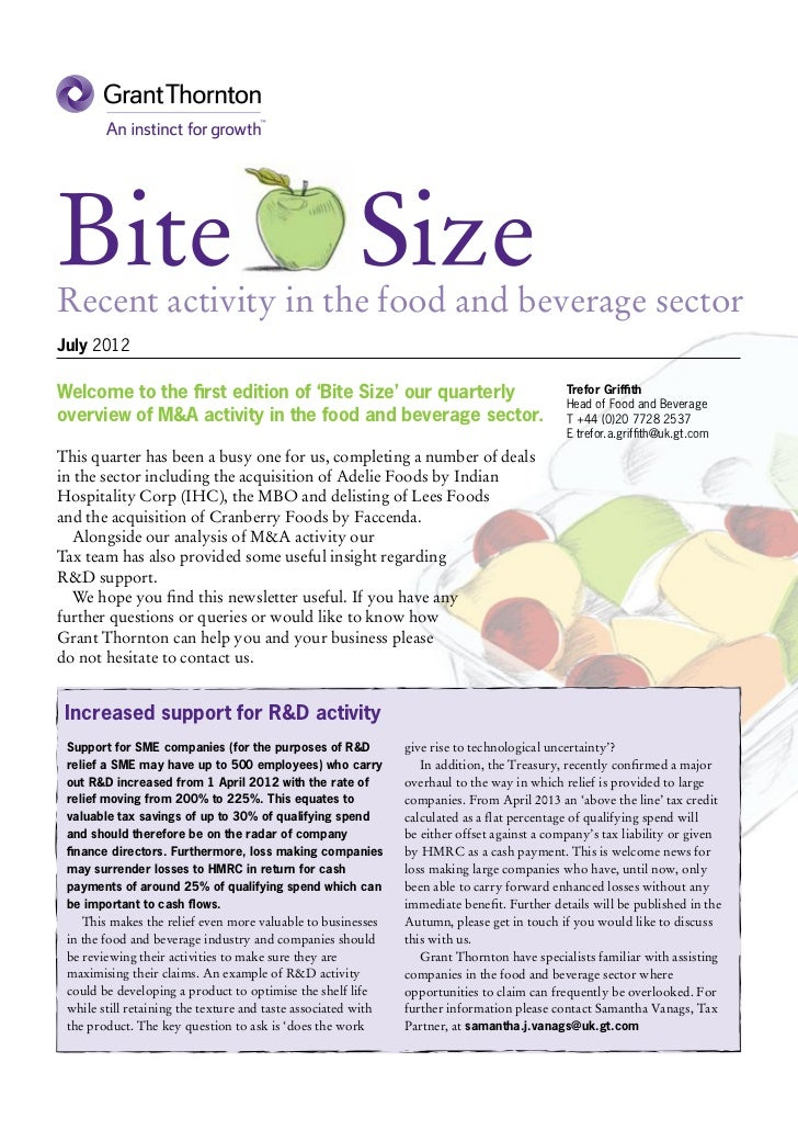 BiteRecent activity in the food and beverage sector                                                        SizeJuly 2012We...