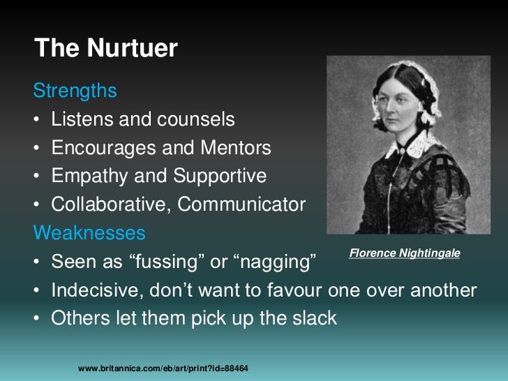 The Nurtuer<br />Strengths<br />Listens and counsels<br />Encourages and Mentors <br />Empathy and Supportive<br />Collabo...