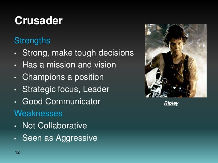 Crusader<br />Strengths<br />Strong, make tough decisions<br />Has a mission and vision<br />Champions a position<br />Str...