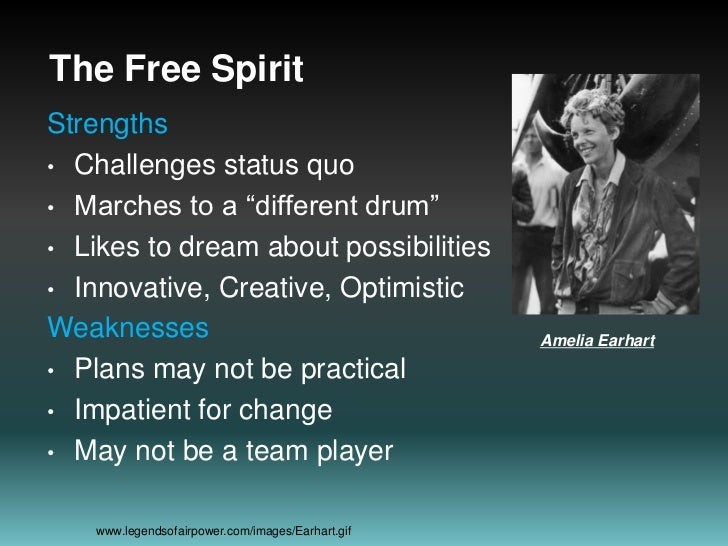 """The Free Spirit<br />Strengths<br />Challenges status quo<br />Marches to a """"different drum""""<br />Likes to dream about pos..."""