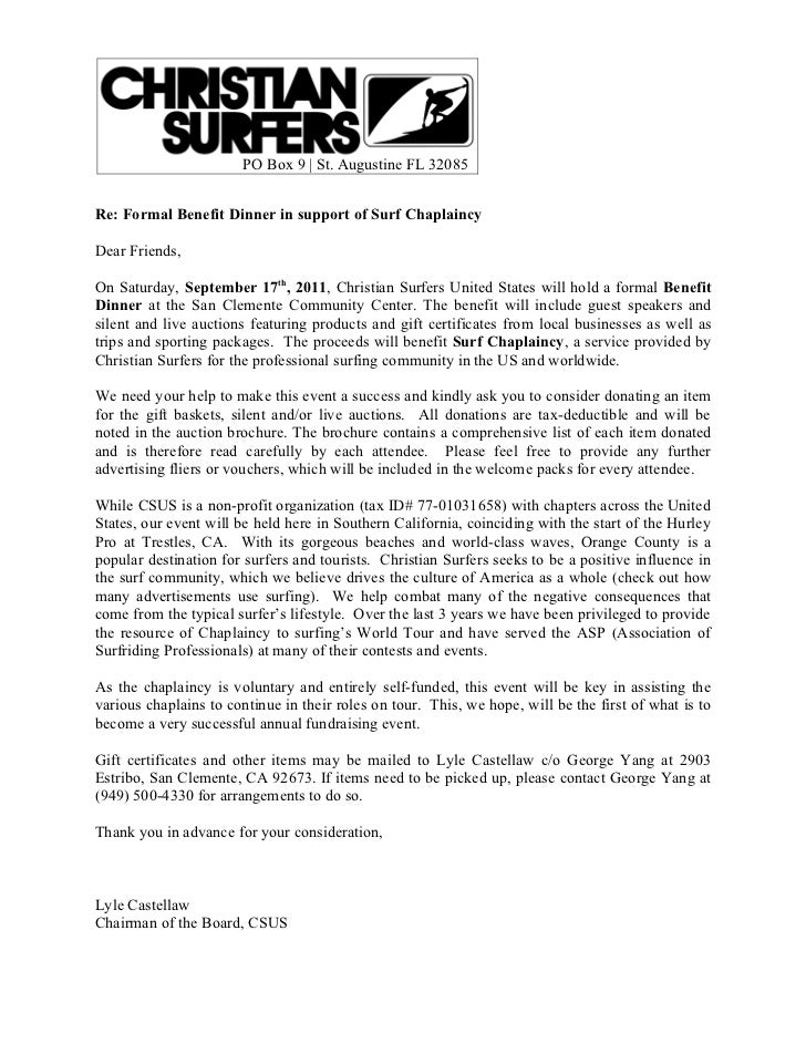 Surf Chaplaincy Benefit Donation Request Letter. PO Box 9 | St. Augustine  FL 32085Re: Formal Benefit Dinner In Support Of