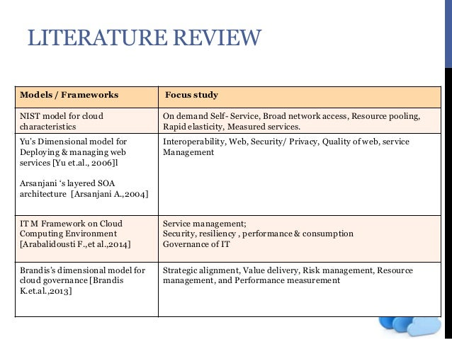 literature review on cloud computing The growth of cloud computing has created a demand for benchmarks that can measure the performance characteristics of cloud applications testing teams should b.
