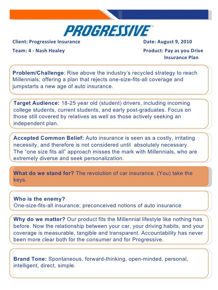 Client: Progressive Insurance Date: August 9, 2010 Team: 4 - Nash Healey Product: Pay as you Drive      Insurance Plan  W...