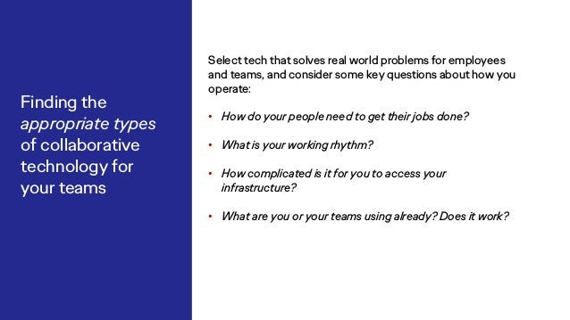 Select tech that solves real world problems for employees and teams, and consider some key questions about how you operate...
