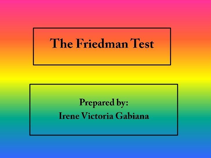 Friedman Test- A Presentation Slide 2