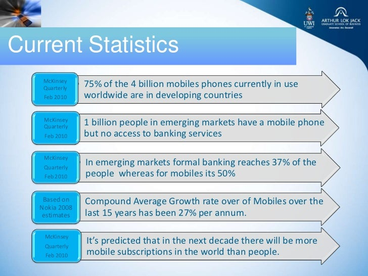 Current Statistics    McKinsey    Quarterly   • 75% of the 4 billion mobiles phones currently in use    Feb 2010      worl...