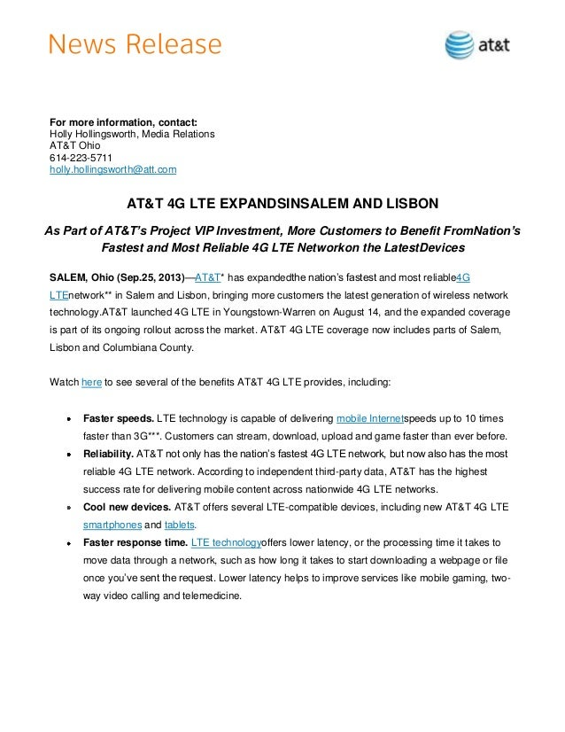 For more information, contact: Holly Hollingsworth, Media Relations AT&T Ohio 614-223-5711 holly.hollingsworth@att.com  AT...