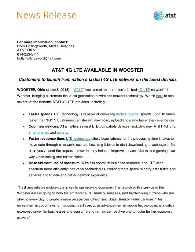For more information, contact:Holly Hollingsworth, Media RelationsAT&T Ohio614-223-5711holly.hollingsworth@att.comAT&T 4G ...
