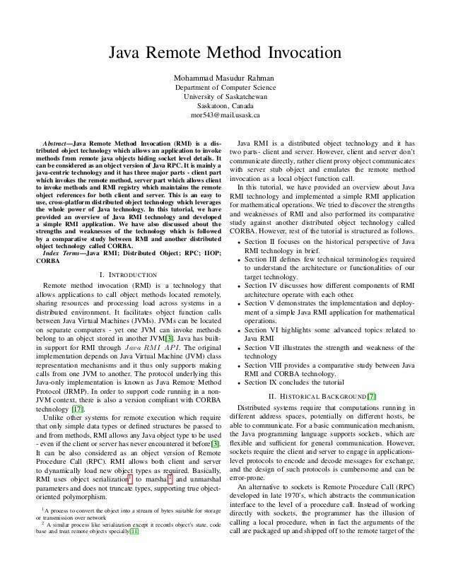 Java Remote Method Invocation Mohammad Masudur Rahman Department of Computer Science University of Saskatchewan Saskatoon,...