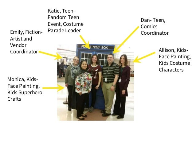 Emily, Fiction- Artist and Vendor Coordinator Monica, Kids- Face Painting, Kids Superhero Crafts Dan- Teen, Comics Coordin...