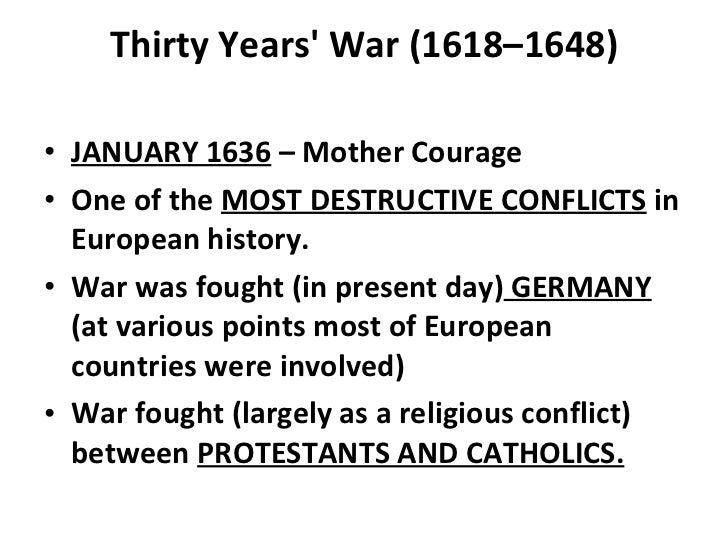 The thirty years war in mother courage and her children by bertolt brecht