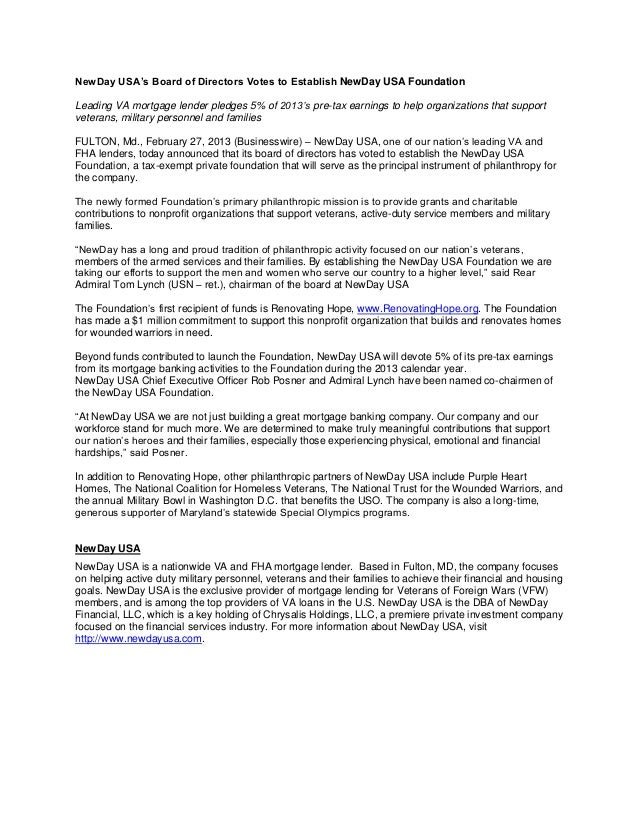 NewDay USA's Board of Directors Votes to Establish NewDay USA Foundation Leading VA mortgage lender pledges 5% of 2013's p...