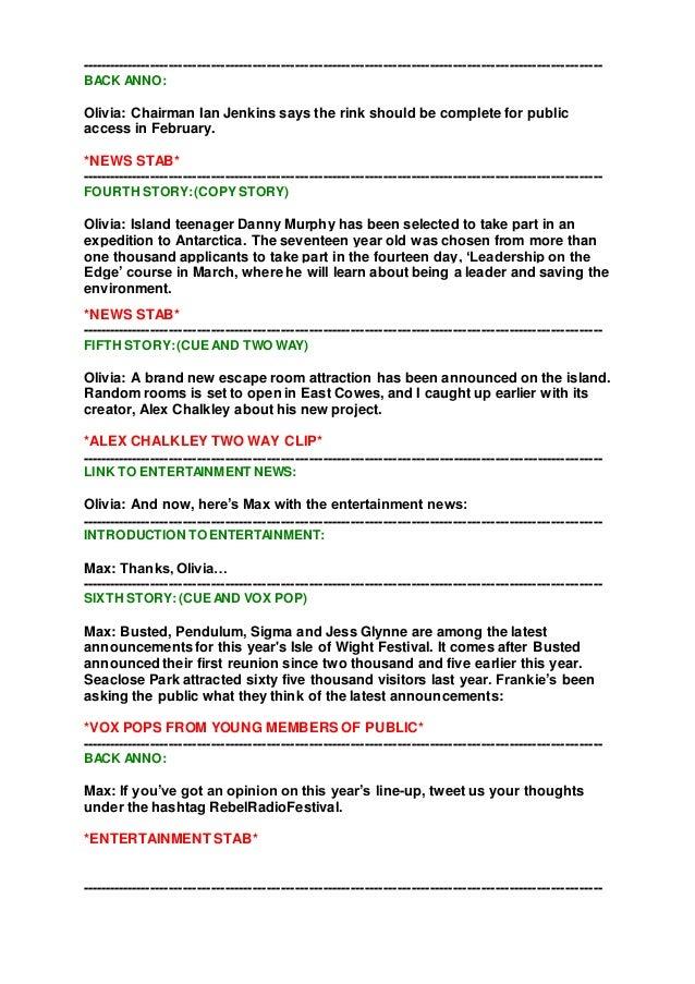 Final News Bulletin Script